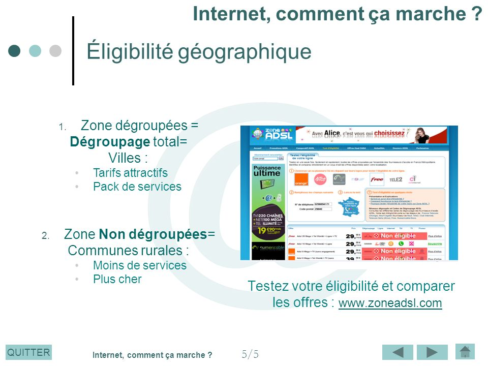 QUITTER Éligibilité géographique Testez votre éligibilité et comparer les offres : www.zoneadsl.com www.zoneadsl.com 1. Zone dégroupées = Dégroupage t