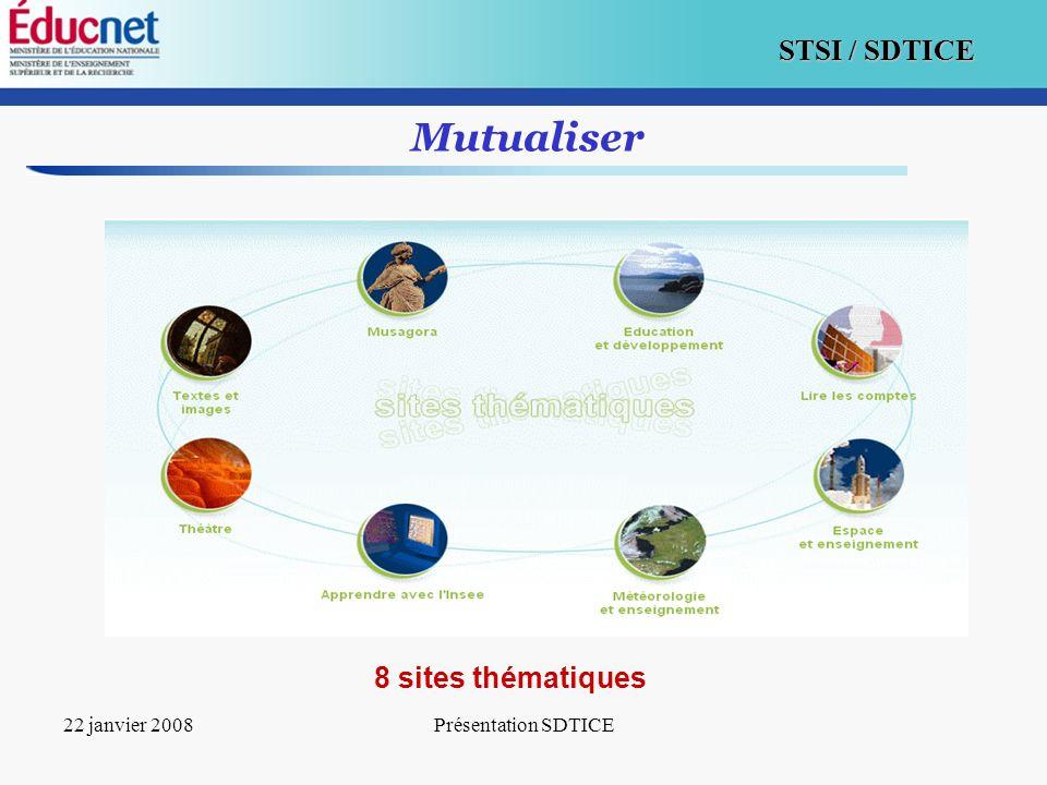 10 STSI / SDTICE 22 janvier 2008Présentation SDTICE Mutualiser 8 sites thématiques