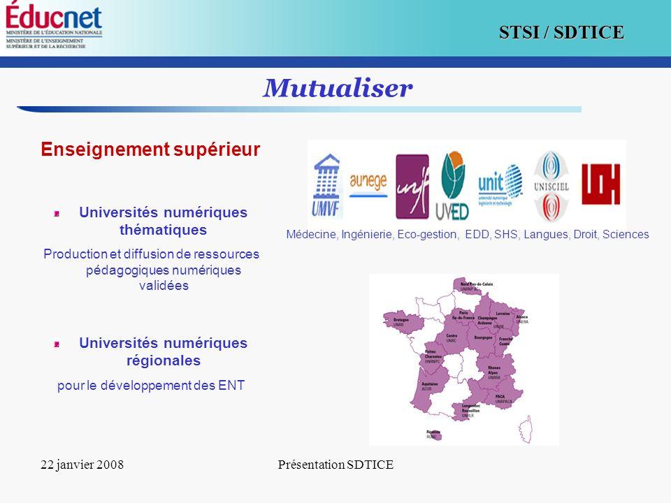 13 STSI / SDTICE 22 janvier 2008Présentation SDTICE Mutualiser Enseignement supérieur Universités numériques thématiques Production et diffusion de re