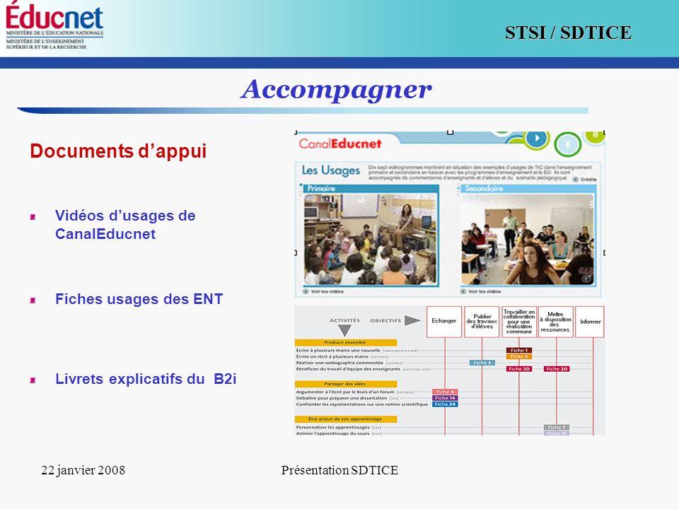 14 STSI / SDTICE 22 janvier 2008Présentation SDTICE Accompagner Documents dappui Vidéos dusages de CanalEducnet Fiches usages des ENT Livrets explicat
