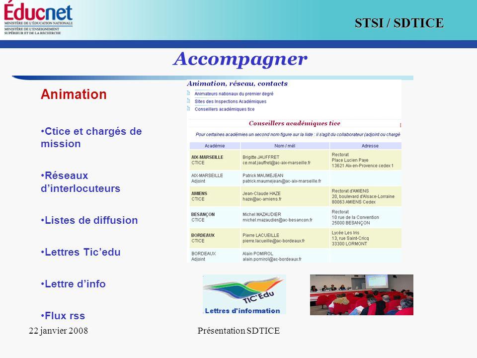 16 STSI / SDTICE 22 janvier 2008Présentation SDTICE Accompagner Animation Ctice et chargés de mission Réseaux dinterlocuteurs Listes de diffusion Lett