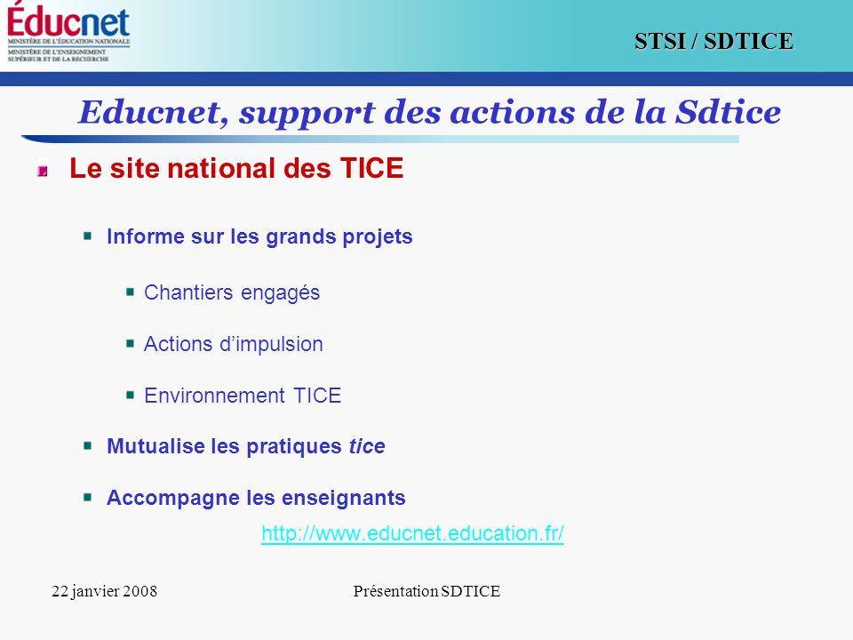 3 STSI / SDTICE 22 janvier 2008Présentation SDTICE Educnet, support des actions de la Sdtice Le site national des TICE Informe sur les grands projets