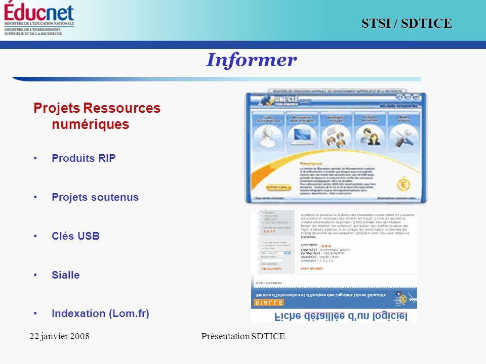 5 STSI / SDTICE 22 janvier 2008Présentation SDTICE Informer Projets Ressources numériques Produits RIP Projets soutenus Clés USB Sialle Indexation (Lo