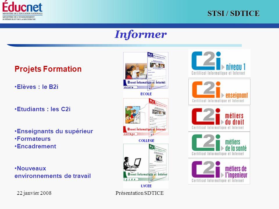 6 STSI / SDTICE 22 janvier 2008Présentation SDTICE Informer Projets Formation Elèves : le B2i Etudiants : les C2i Enseignants du supérieur Formateurs