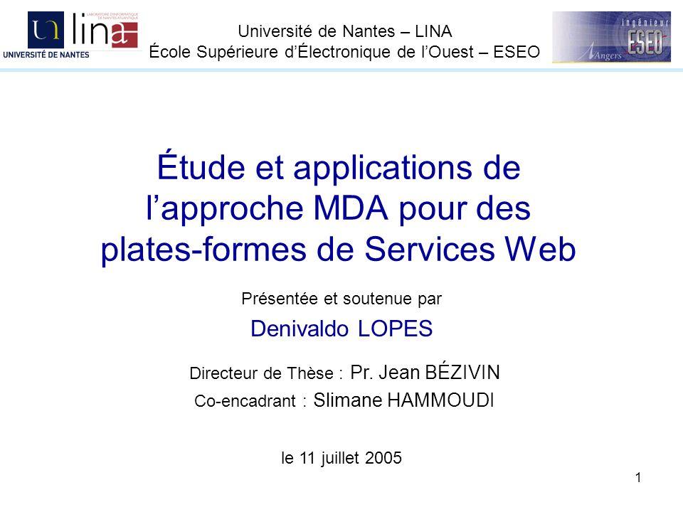 1 Étude et applications de lapproche MDA pour des plates-formes de Services Web Présentée et soutenue par Denivaldo LOPES le 11 juillet 2005 Directeur