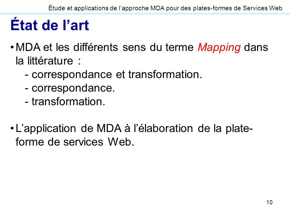 10 État de lart MDA et les différents sens du terme Mapping dans la littérature : - correspondance et transformation. - correspondance. - transformati