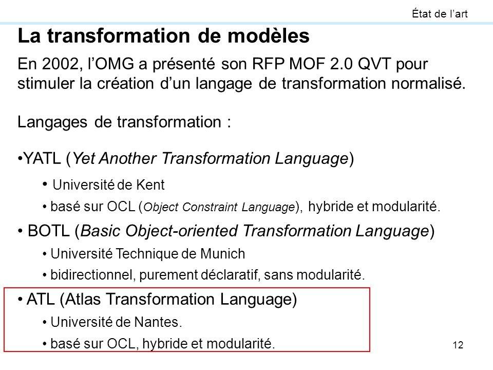 12 État de lart La transformation de modèles En 2002, lOMG a présenté son RFP MOF 2.0 QVT pour stimuler la création dun langage de transformation norm