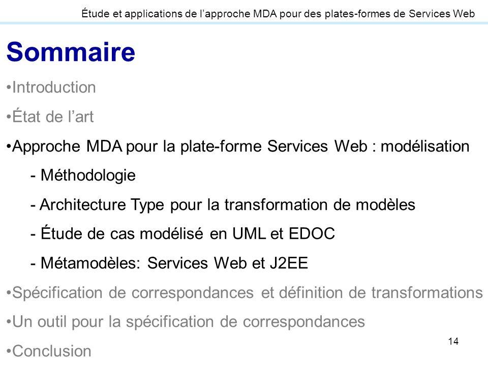 14 Étude et applications de lapproche MDA pour des plates-formes de Services Web Sommaire Introduction État de lart Approche MDA pour la plate-forme S