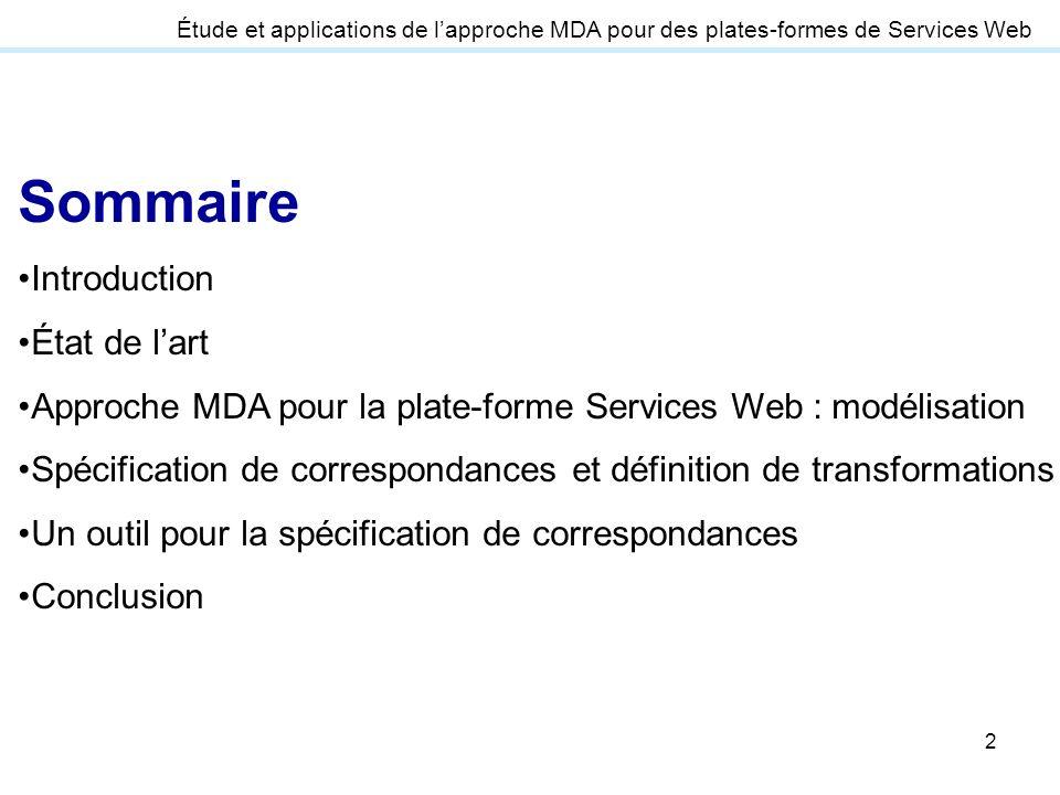 2 Étude et applications de lapproche MDA pour des plates-formes de Services Web Sommaire Introduction État de lart Approche MDA pour la plate-forme Se