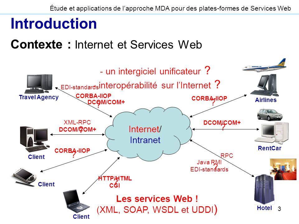 3 Introduction Contexte : Internet et Services Web Étude et applications de lapproche MDA pour des plates-formes de Services Web Internet/ Intranet Le