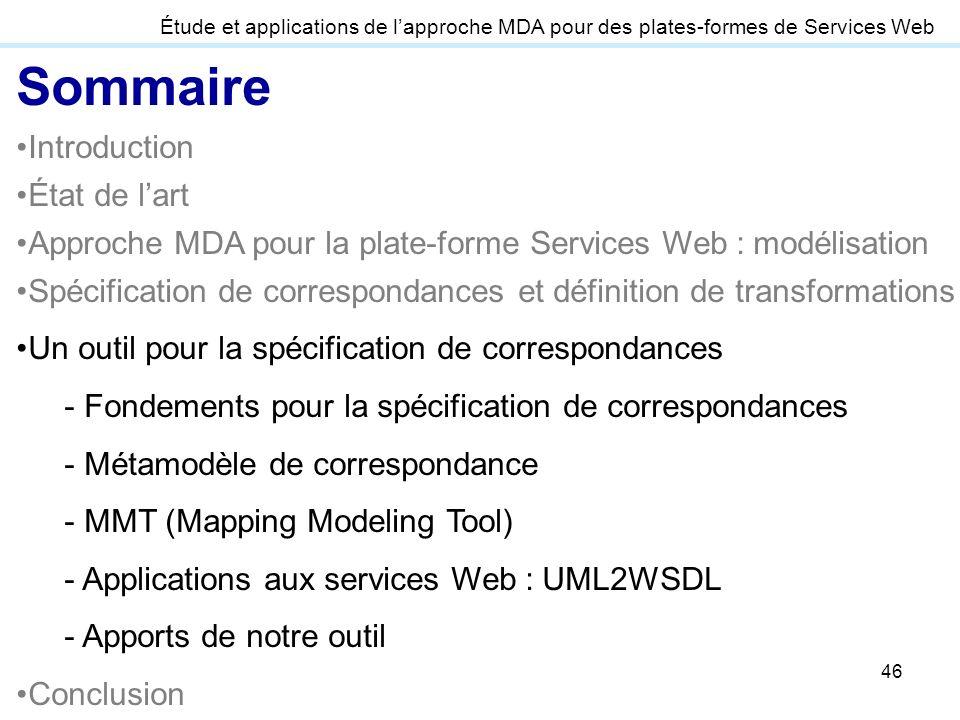 46 Étude et applications de lapproche MDA pour des plates-formes de Services Web Sommaire Introduction État de lart Approche MDA pour la plate-forme S