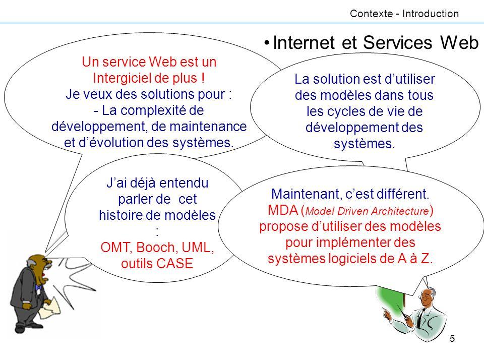 5 Contexte - Introduction Un service Web est un Intergiciel de plus ! Je veux des solutions pour : - La complexité de développement, de maintenance et