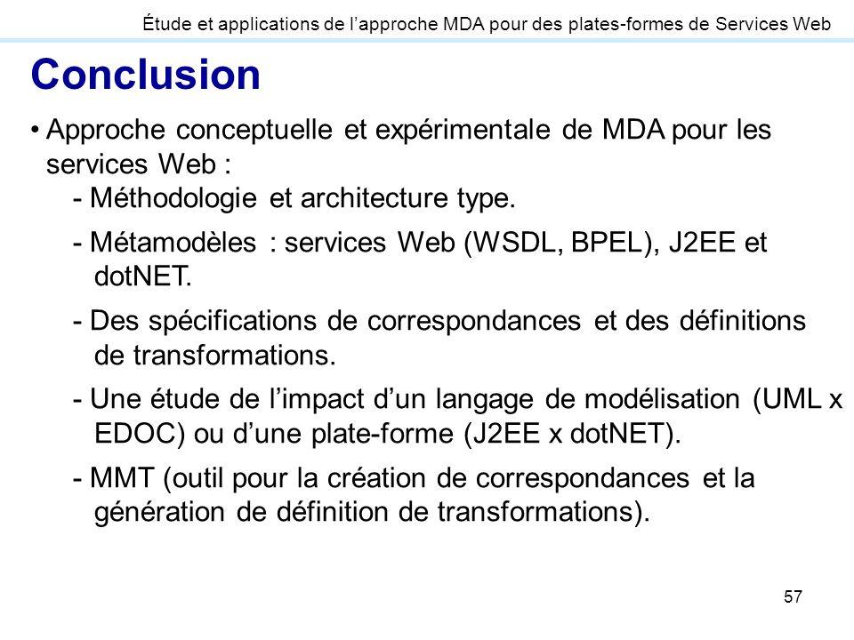 57 Approche conceptuelle et expérimentale de MDA pour les services Web : - Méthodologie et architecture type. - Métamodèles : services Web (WSDL, BPEL