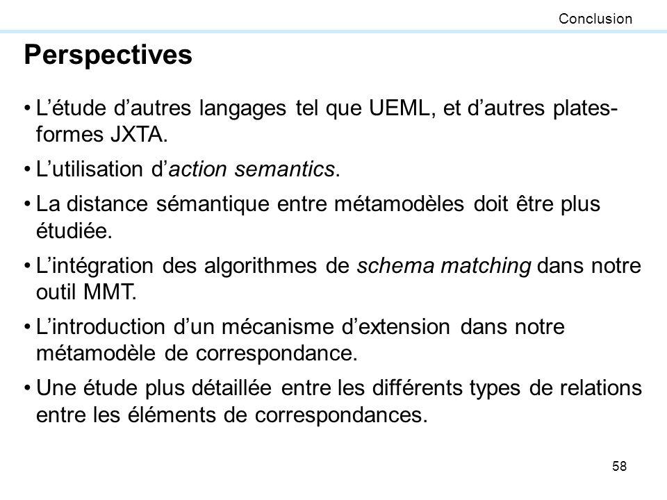 58 Conclusion Perspectives Létude dautres langages tel que UEML, et dautres plates- formes JXTA. Lutilisation daction semantics. La distance sémantiqu