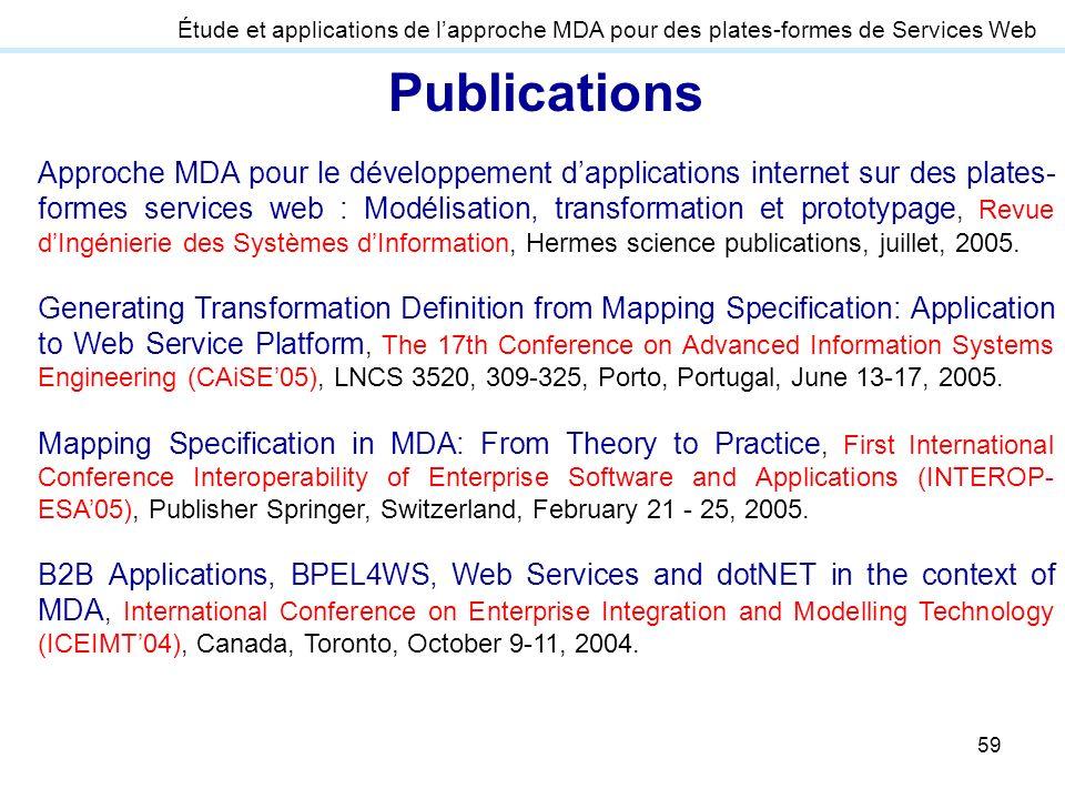 59 Publications Approche MDA pour le développement dapplications internet sur des plates- formes services web : Modélisation, transformation et protot
