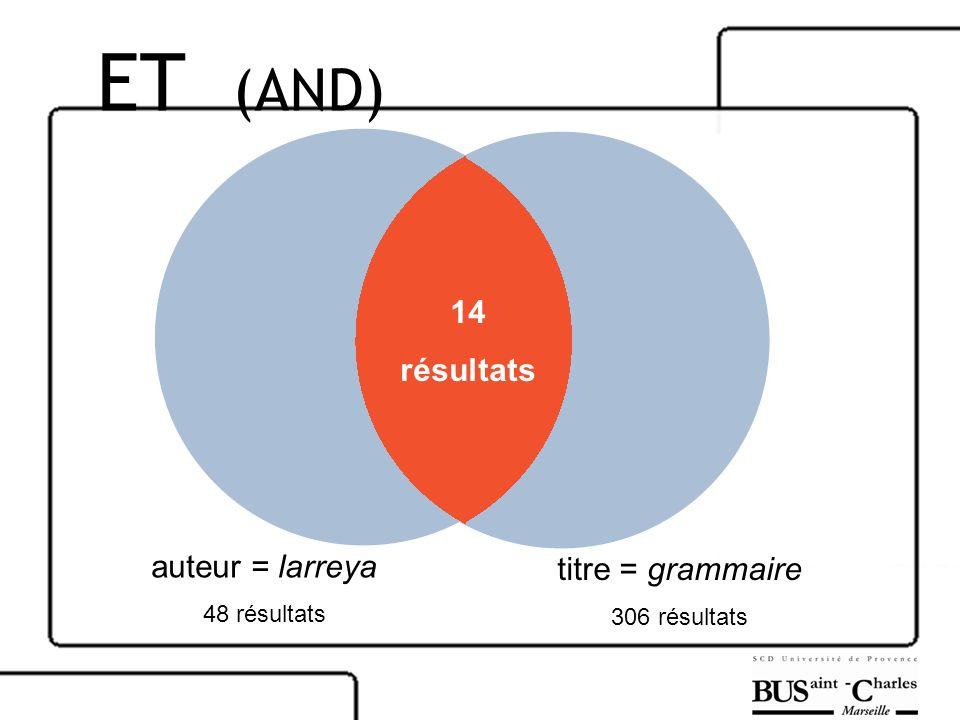 auteur = larreya 48 résultats titre = grammaire 306 résultats 14 résultats ET (AND)