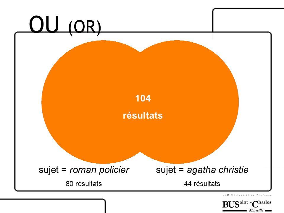 sujet = roman policier 80 résultats sujet = agatha christie 44 résultats 104 résultats OU (OR)