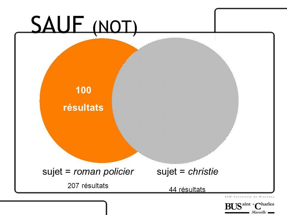sujet = roman policier 207 résultats sujet = christie 44 résultats 100 résultats SAUF (NOT)