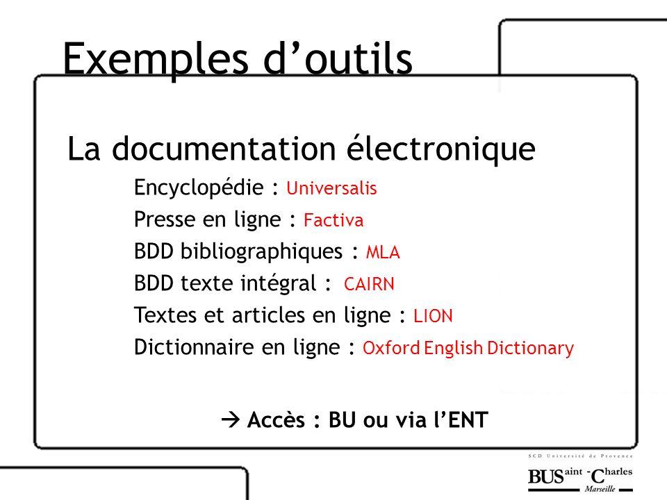 Exemples doutils La documentation électronique Encyclopédie : Universalis Presse en ligne : Factiva BDD bibliographiques : MLA BDD texte intégral : CA