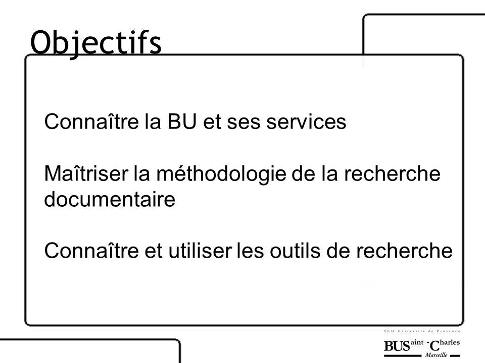 Objectifs Connaître la BU et ses services Maîtriser la méthodologie de la recherche documentaire Connaître et utiliser les outils de recherche