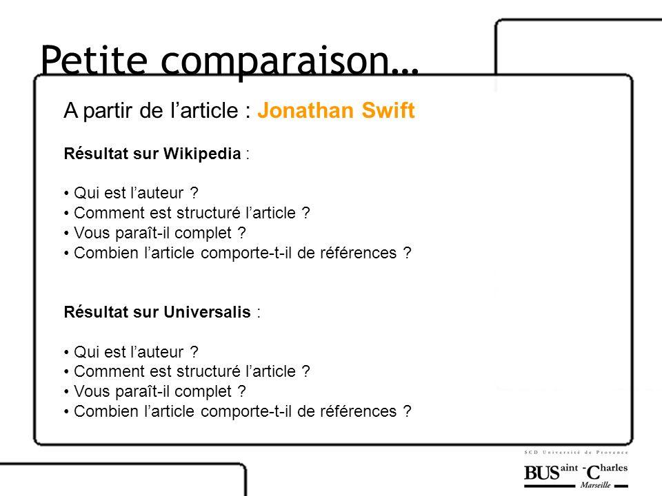 Petite comparaison… A partir de larticle : Jonathan Swift Résultat sur Wikipedia : Qui est lauteur ? Comment est structuré larticle ? Vous paraît-il c