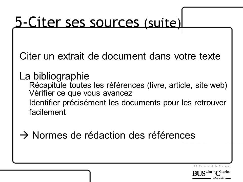 5-Citer ses sources (suite) Citer un extrait de document dans votre texte La bibliographie Récapitule toutes les références (livre, article, site web)