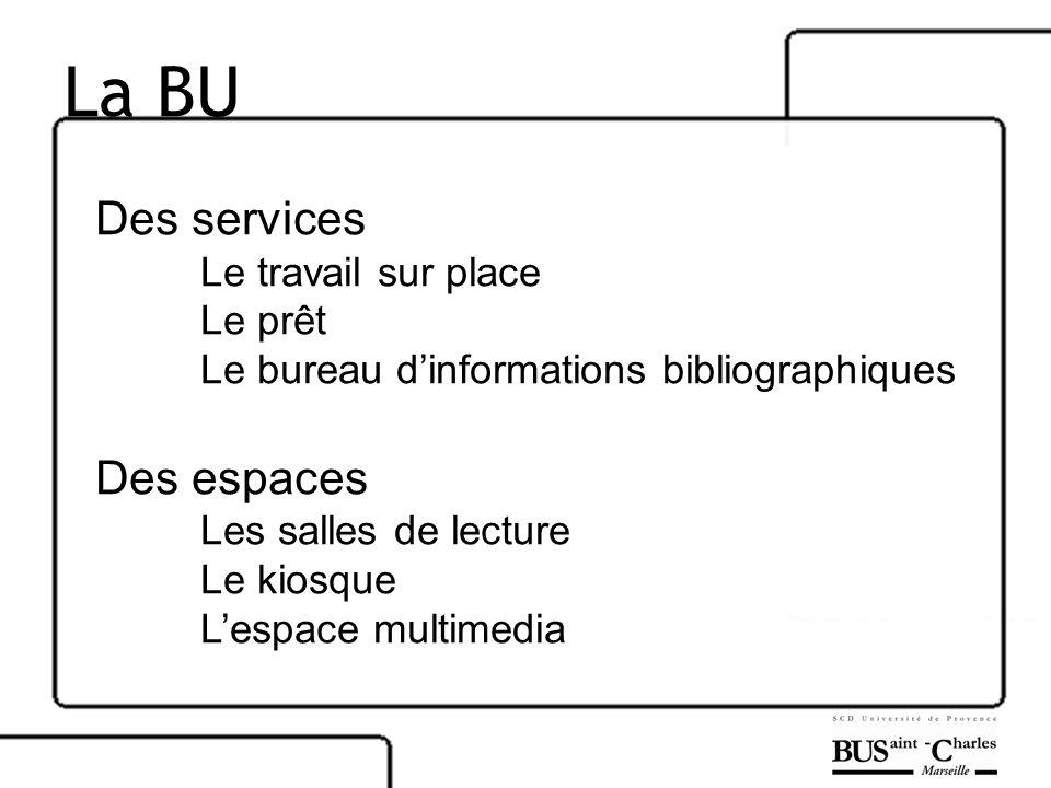 La BU Des services Le travail sur place Le prêt Le bureau dinformations bibliographiques Des espaces Les salles de lecture Le kiosque Lespace multimed