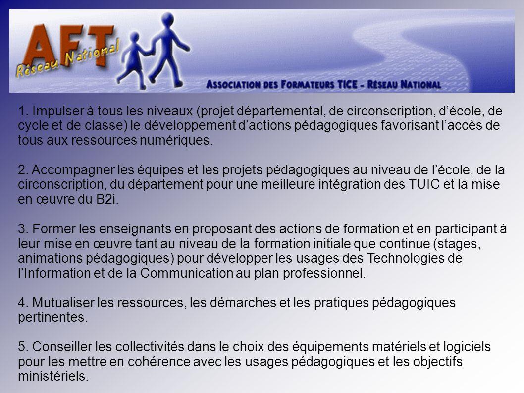 1. Impulser à tous les niveaux (projet départemental, de circonscription, décole, de cycle et de classe) le développement dactions pédagogiques favori