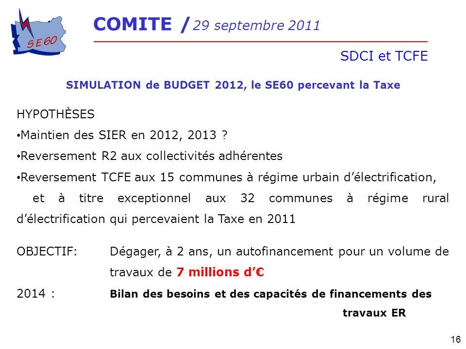 COMITE / 29 septembre 2011 SDCI et TCFE 16 SIMULATION de BUDGET 2012, le SE60 percevant la Taxe HYPOTHÈSES Maintien des SIER en 2012, 2013 ? Reverseme