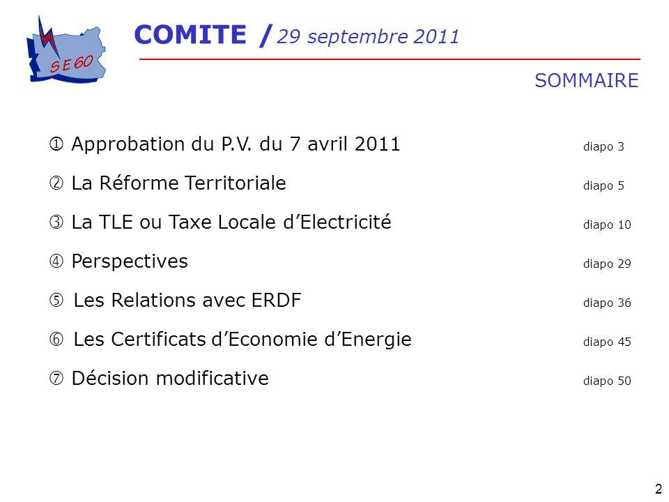 2 Approbation du P.V. du 7 avril 2011 diapo 3 La Réforme Territoriale diapo 5 La TLE ou Taxe Locale dElectricité diapo 10 Perspectives diapo 29 Les Re