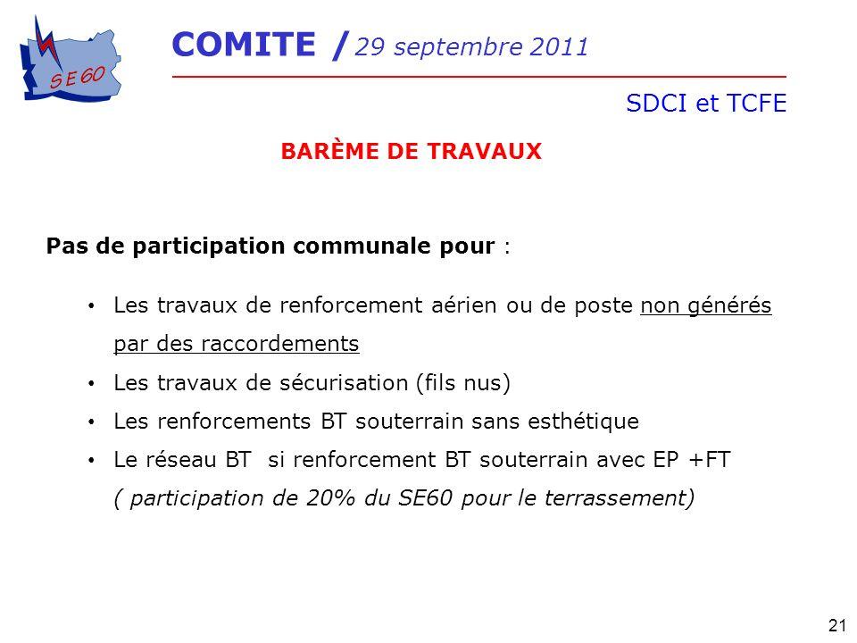 COMITE / 29 septembre 2011 SDCI et TCFE 21 BARÈME DE TRAVAUX Pas de participation communale pour : Les travaux de renforcement aérien ou de poste non
