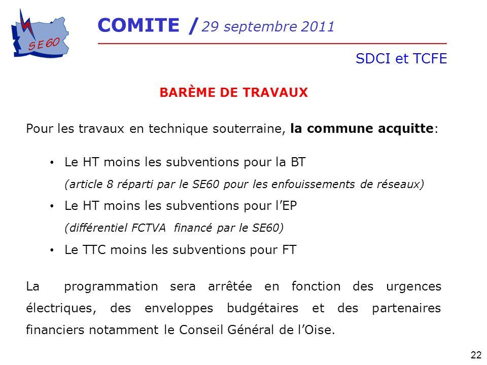 COMITE / 29 septembre 2011 SDCI et TCFE 22 BARÈME DE TRAVAUX Pour les travaux en technique souterraine, la commune acquitte: Le HT moins les subventio