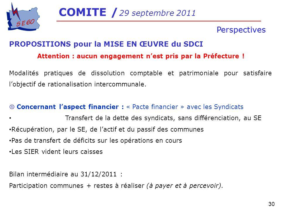 30 COMITE / 29 septembre 2011 Perspectives PROPOSITIONS pour la MISE EN ŒUVRE du SDCI Attention : aucun engagement nest pris par la Préfecture ! Modal
