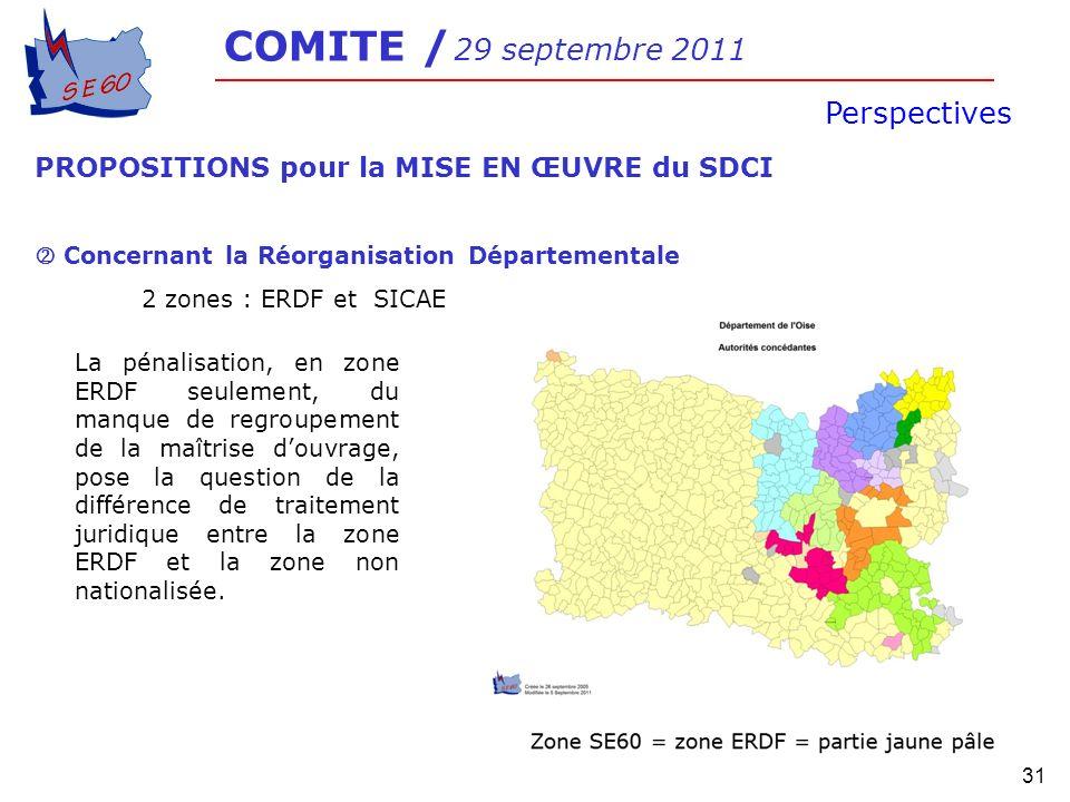 31 COMITE / 29 septembre 2011 Perspectives PROPOSITIONS pour la MISE EN ŒUVRE du SDCI Concernant la Réorganisation Départementale 2 zones : ERDF et SI
