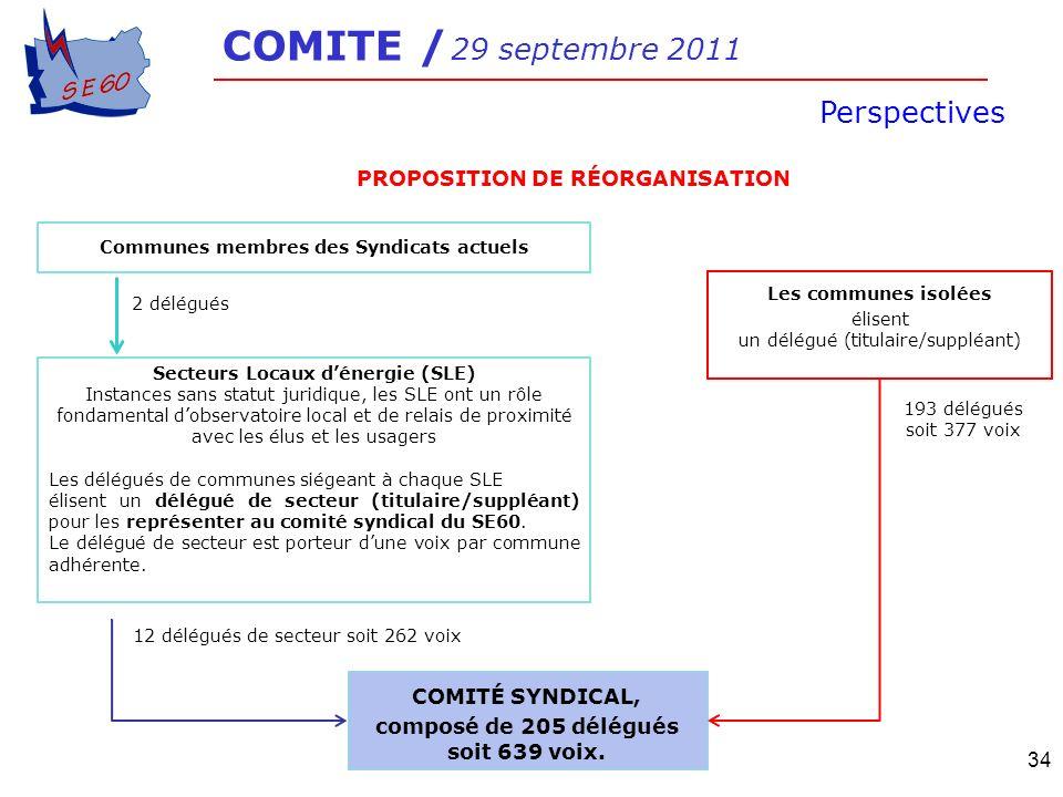34 Communes membres des Syndicats actuels 2 délégués Secteurs Locaux dénergie (SLE) Instances sans statut juridique, les SLE ont un rôle fondamental d