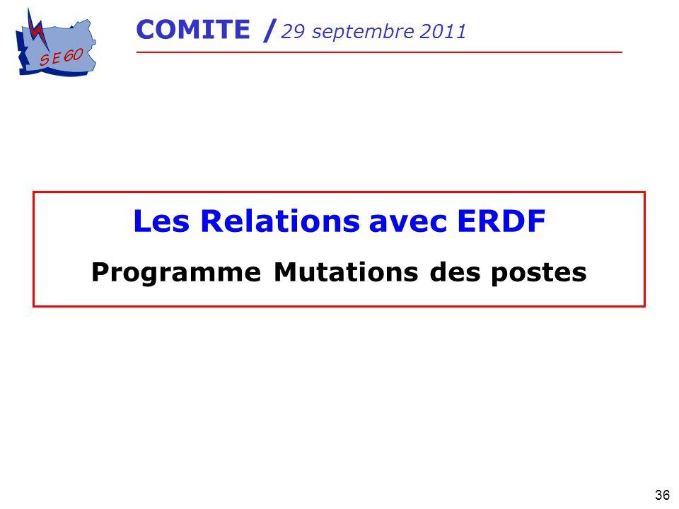 36 COMITE / 29 septembre 2011 Les Relations avec ERDF Programme Mutations des postes