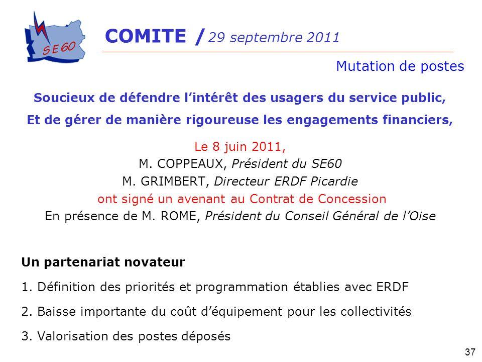 Le 8 juin 2011, M. COPPEAUX, Président du SE60 M. GRIMBERT, Directeur ERDF Picardie ont signé un avenant au Contrat de Concession En présence de M. RO