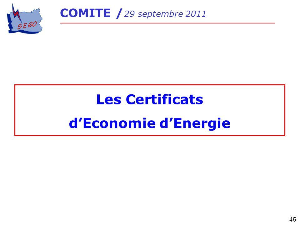 45 COMITE / 29 septembre 2011 Les Certificats dEconomie dEnergie