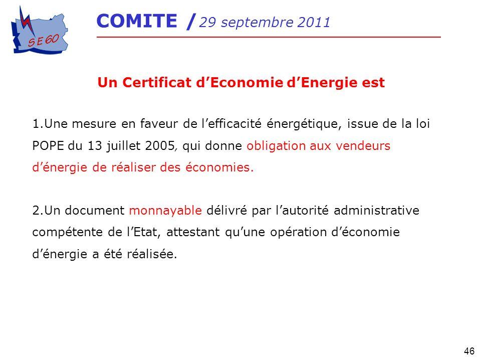 46 COMITE / 29 septembre 2011 Un Certificat dEconomie dEnergie est 1.Une mesure en faveur de lefficacité énergétique, issue de la loi POPE du 13 juill