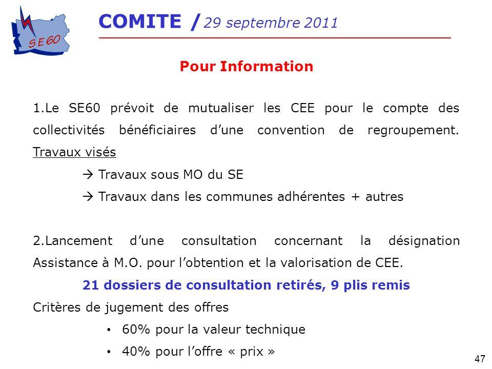47 COMITE / 29 septembre 2011 Pour Information 1.Le SE60 prévoit de mutualiser les CEE pour le compte des collectivités bénéficiaires dune convention