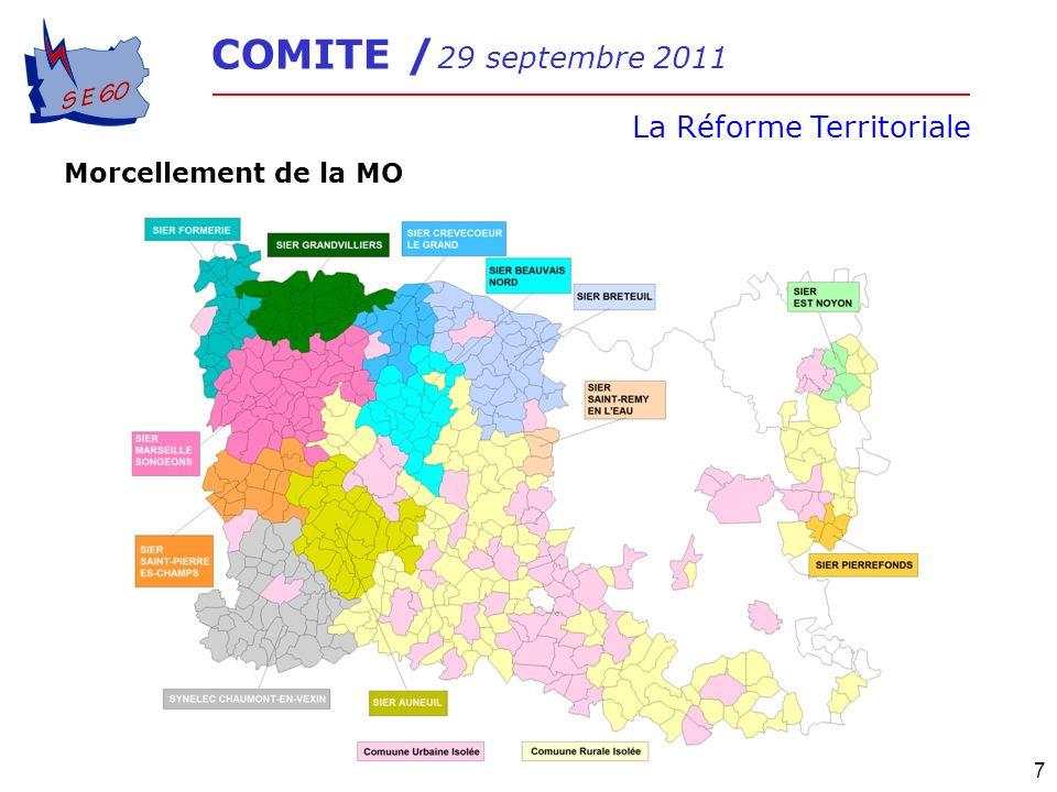 COMITE / 29 septembre 2011 La Réforme Territoriale 7 Morcellement de la MO