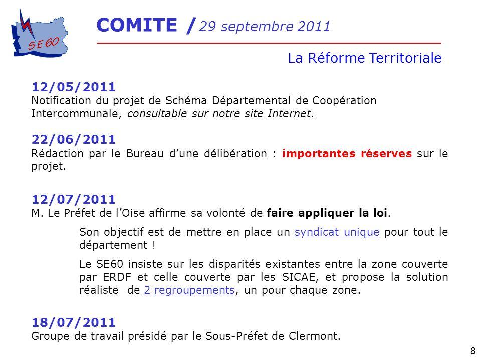 COMITE / 29 septembre 2011 La Réforme Territoriale 8 12/05/2011 Notification du projet de Schéma Départemental de Coopération Intercommunale, consulta