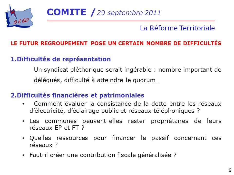 COMITE / 29 septembre 2011 La Réforme Territoriale 9 LE FUTUR REGROUPEMENT POSE UN CERTAIN NOMBRE DE DIFFICULTÉS 1.Difficultés de représentation Un sy