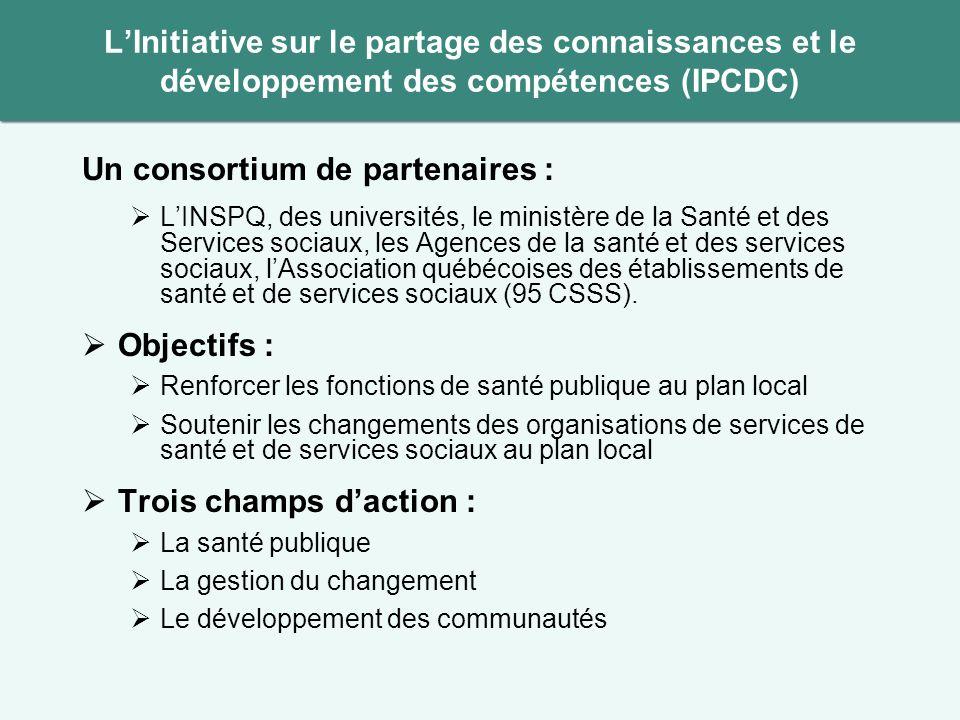 Un consortium de partenaires : LINSPQ, des universités, le ministère de la Santé et des Services sociaux, les Agences de la santé et des services sociaux, lAssociation québécoises des établissements de santé et de services sociaux (95 CSSS).