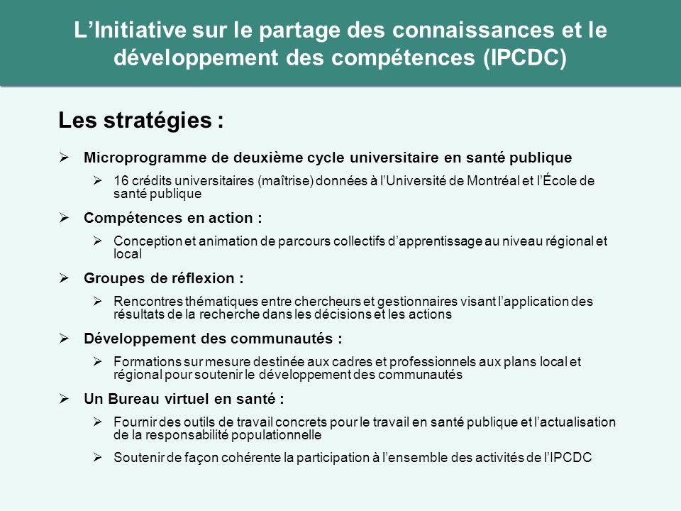 Les stratégies : Microprogramme de deuxième cycle universitaire en santé publique 16 crédits universitaires (maîtrise) données à lUniversité de Montré