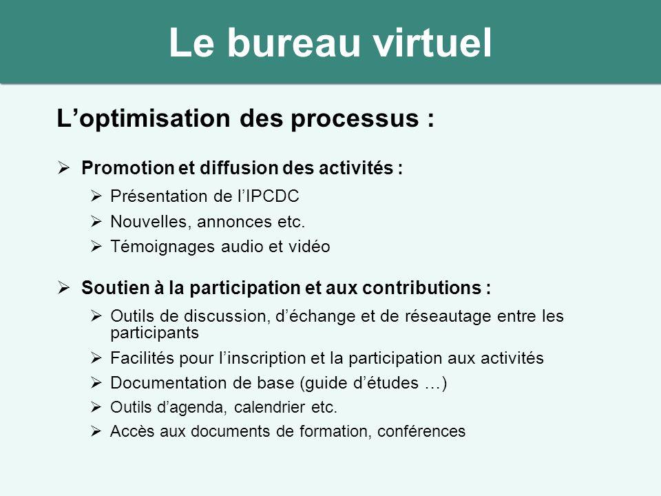 Loptimisation des processus : Promotion et diffusion des activités : Présentation de lIPCDC Nouvelles, annonces etc. Témoignages audio et vidéo Soutie