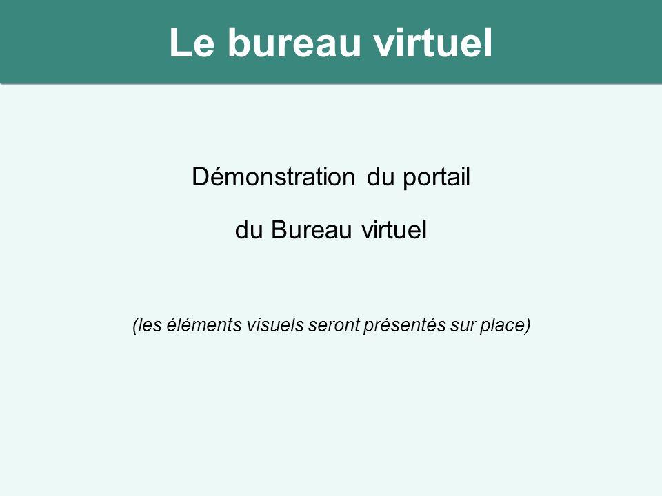 Démonstration du portail du Bureau virtuel (les éléments visuels seront présentés sur place) Le bureau virtuel
