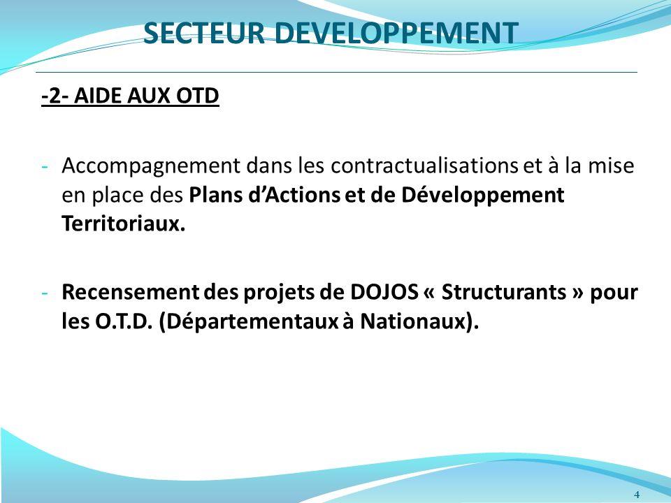 4 -2- AIDE AUX OTD - Accompagnement dans les contractualisations et à la mise en place des Plans dActions et de Développement Territoriaux.
