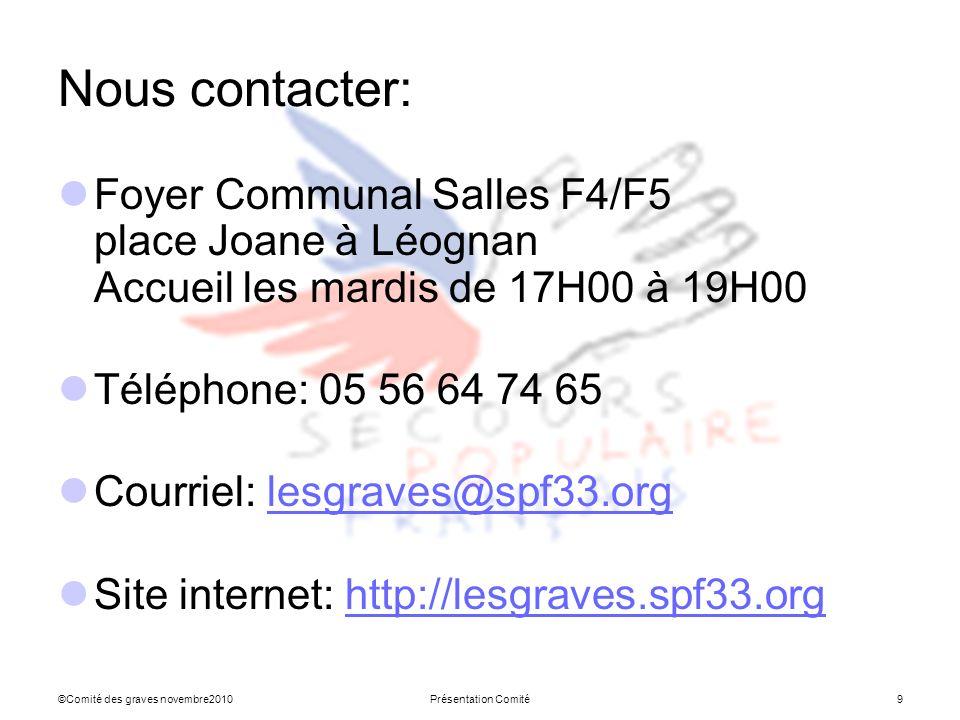 ©Comité des graves novembre2010Présentation Comité9 Nous contacter: Foyer Communal Salles F4/F5 place Joane à Léognan Accueil les mardis de 17H00 à 19