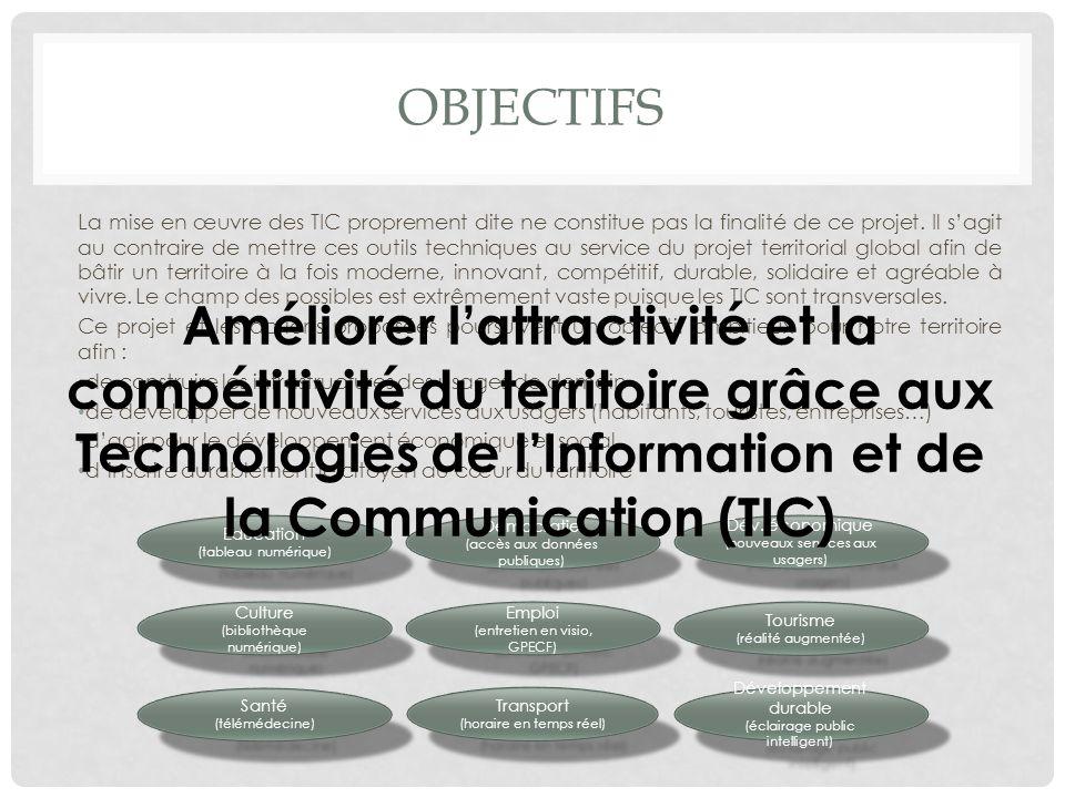 OBJECTIFS La mise en œuvre des TIC proprement dite ne constitue pas la finalité de ce projet. Il sagit au contraire de mettre ces outils techniques au